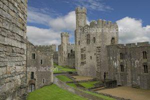 Welsh castles - Caernarfon / Carnarvon castle in Wales.