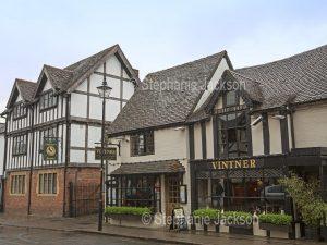 The historic 15th century Vintner pub in Stratford-upon-Avon in Warwickshire, England