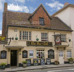 The Wig and Quill pub in Salisbury, Wiltshire, England.