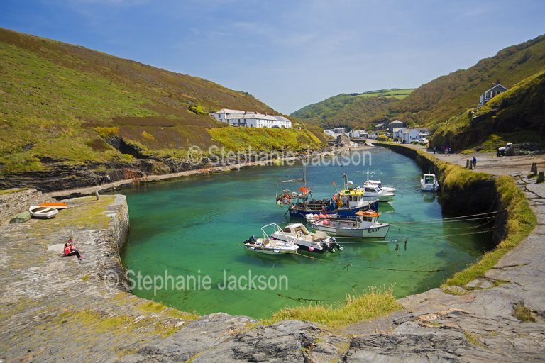 Boats in the sheltered harbour at Boscastle, Cornwall, England