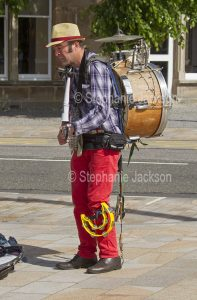 Busker at Oban in Scotland.