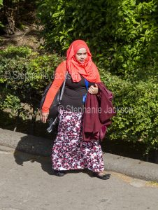 Muslim woman wearing a hijab in York, England.