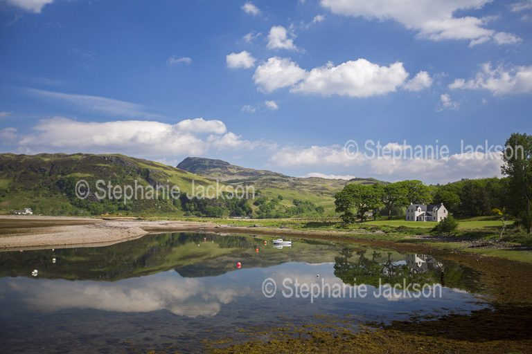 Landscape near the village of Glenelg, with a house on the shores of Kyle Rhea, the narrow strait that divides the Scottish mainland from the Isle of Skye.
