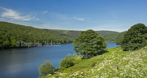 Landscape, The calm waters of the lake at Ladybower reservoir in the Upper Derwent Valley, in Derbyshire, England.