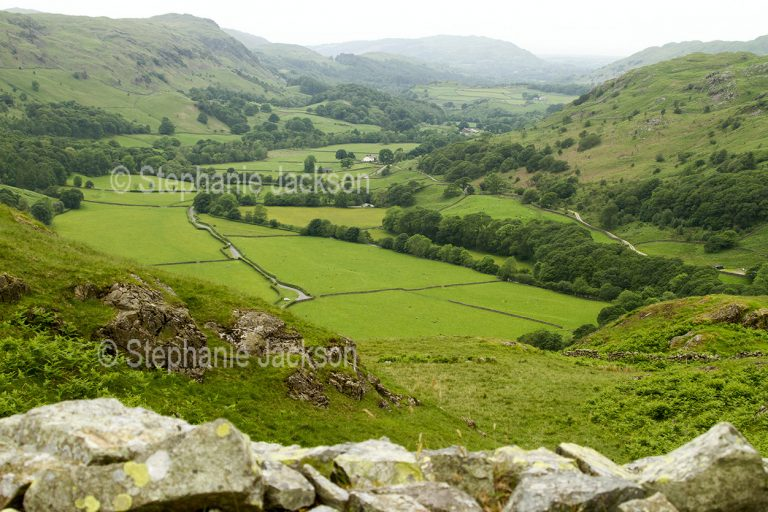 Agriculture, countryside, rural landscape, View of farmlands / farm fields from the summit of Hardknott Pass, the steepest road in England, in the Lake District, Cumbria.