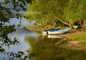 Boats, dinghies, beside Loch Morar near the village of Morar in Scotland.