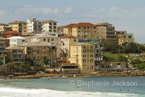 High rise apartment buildings on hillside overlooking Bondi beach near Sydney NSW Australia