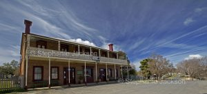 Panoramic view of Royal Hotel at historic village of Hill End in NSW Australia