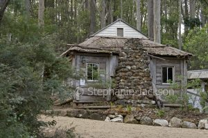 Replica of miner's cottage at Old Mogo Town historic village near Moruya, NSW Australia