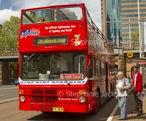 Open topped double decker city tour bus in Sydney NSW Australia