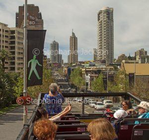 Australian capital city, Sydney from roof of tourist bus, NSW Australia