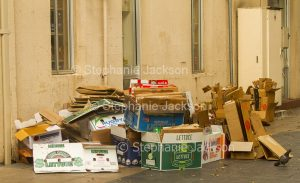 Heap of carboard boxes / containers, for recycling, on city footpath in NSW Australia
