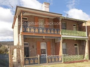 Terrace houses with decorative wrought iron railings in Lithgow NSW Australia