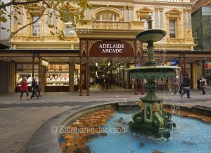 Fountain and exterior facade of historic Adelaide arcade in Rundle Mall in the city of Adelaide, South Australia.