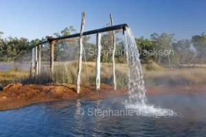 Hot artesian bore water at Charlotte Plains station, near the outback town of Cunnamulla in south-western Queensland Australia