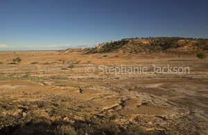 Australian outback landscape of plains and Ayrshire Hills north of Winton in Queensland Australia
