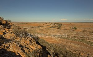 Australian outback landscape viewed from Ayrshire Hills north of Winton in Queensland Australia