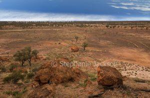 Australian outback landscape with vast arid plains near Yowah in Queensland