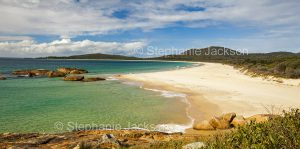 Panoramic view of coastal landscape with sandy beaches and forested dunes at South West Rocks in NSW Australia
