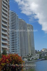 Waterfront high rise apartment blocks beside the Brisbane River in the city of Brisbane in Queensland Australia.