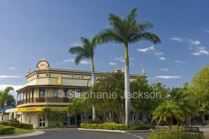 Club Hotel and gardens in the main street, Bourbong Street, in the city of Bundaberg in Queensland Australia
