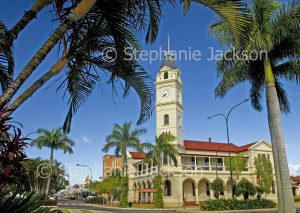 Historic building, post office and gardens in the main street, Bourbong Street, in the city of Bundaberg in Queensland Australia