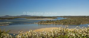 Panoramic view of coastal landscape and river estuary at Nambucca Heads in NSW Australia
