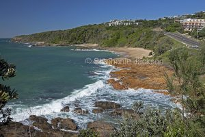 Rocky coast, beach and ocean at Coolum Beach, Sunshine Coast, Queensland Australia