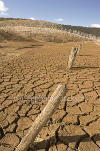 Dry bed of Lake Eucumbene, in the Snowy Mountains, during a severe drought, in NSW Australia,