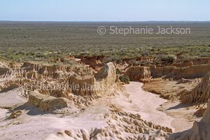 Australian outback landscape with eroded soil in foreground and vast plains, dry Lake Mungo, stretching to distant horizon in Mungo National Park in NSW Australia