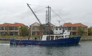 Fishing boat / trawler passing modern waterfront houses at Port Lincoln South Australia