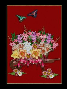 Floral art design. Masses of colourful flowers and emerald foliage spilling out of wooden wheelbarrow on burgundy red background with black border,