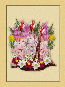 Floral art design. Mass of glorious red, white, yellow and pink flowers in a wicker basket on apricot background.