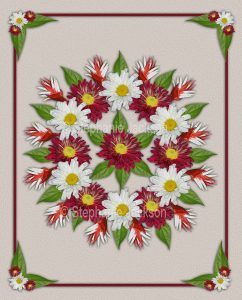 Floral art, stunning symmetrical design. Red chrysanthemums, white daisies and emerald green foliage on ivory background.