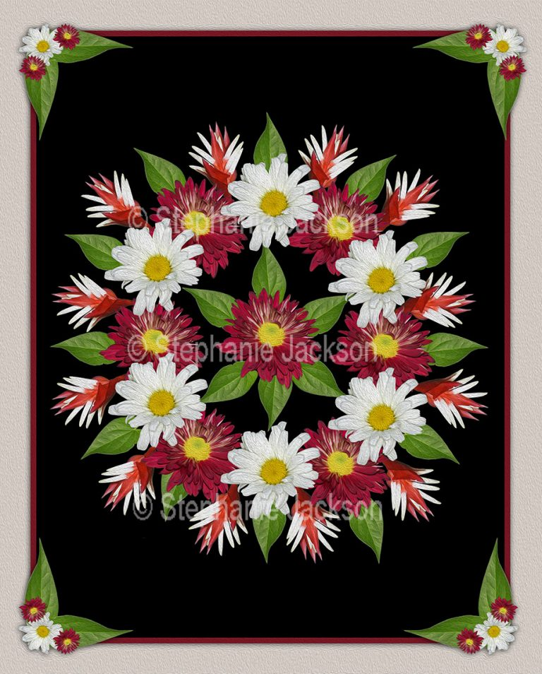Floral art, stunning symmetrical design. Red chrysanthemums, white daisies and emerald green foliage on black background.