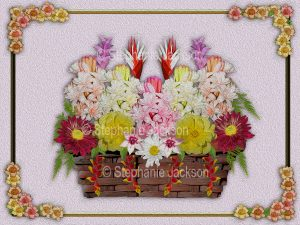 Floral art design. Mass of colourful pink, red, yellow and white flowers in a wicker basket on lilac background.