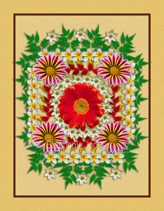 Floral art symmetrical design. Mass of colourful red, yellow and white flowers and green foliage on apricot background.