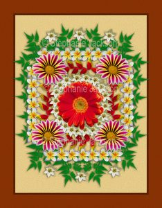 Floral art symmetrical design. Mass of colourful red, yellow and white flowers and green foliage on apricot background with brown border.