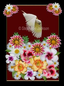 Floral art design. Mass of colourful flowers with sulphur crested cockatoo flying above on burgundy red background with black border.