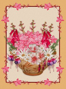 Floral art design. Pink, red, and white flowers spilling out of decorative terracotta container on cream background with apricot border.