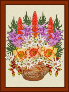 Floral art design. Pink, mauve, yellow and white flowers spilling out of decorative terracotta container on cream background with brown border.