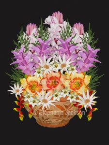 Floral art design. Pink, mauve, yellow and white flowers spilling out of decorative terracotta container on black background.