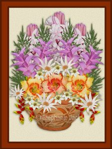 Floral art design. Pink, mauve, yellow and white flowers spilling out of decorative terracotta container on cream background with brown frame.
