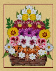 Floral art design. Red, white, orange, yellow and purple flowers piled up in a wicker basket on apricot background.