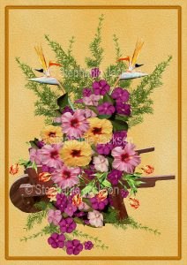 Floral art design. Masses of colourful flowers and emerald foliage spilling out of wooden wheelbarrow on apricot background.