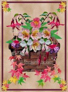 Floral art design. Autumn leaves and pink and white frangipani flowers in a wicker basket on fawn background.