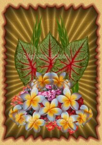 Floral art design. Red and green caladium leaves and yellow and white frangipani flowers on gold background.