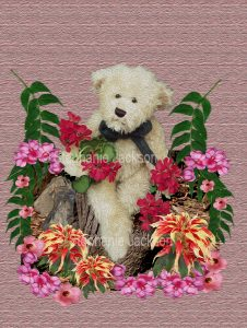 Floral art design. Pink and red flowers surrounding white teddy bear on textured pink background.