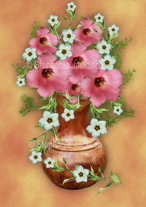 Floral art design. Pink and white flowers in wooden vase on apricot background.