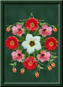 Floral art design. red, pink and white flowers on green background.